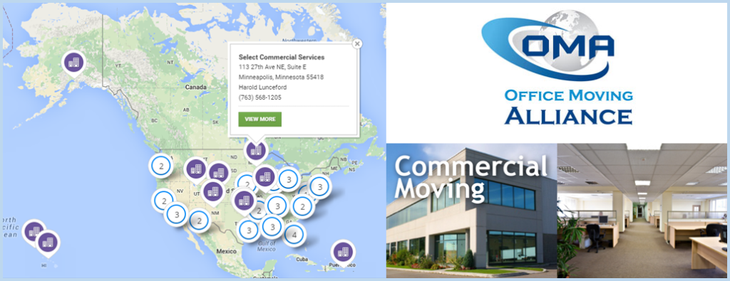 Select Commercial Services Minneapolis Map Locator on OMA Office Moving Alliance Website